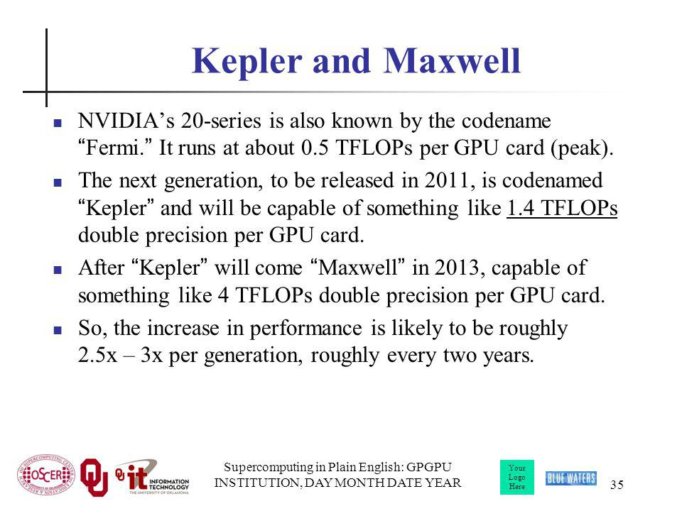 Your Logo Here Kepler and Maxwell NVIDIAs 20-series is also known by the codenameFermi.