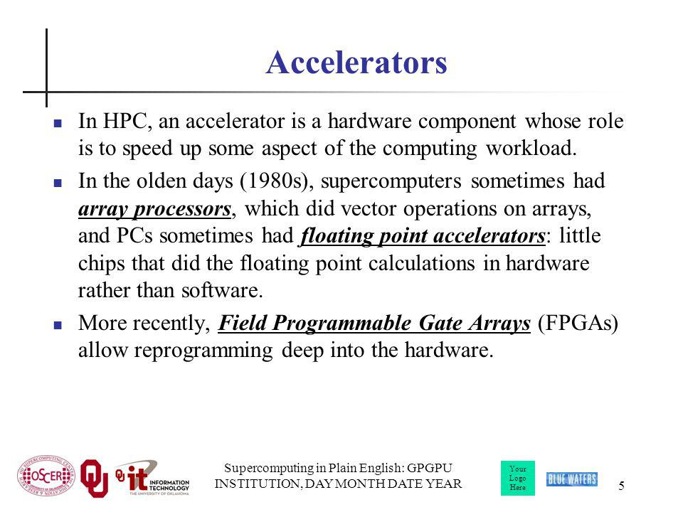 Your Logo Here Supercomputing in Plain English: GPGPU INSTITUTION, DAY MONTH DATE YEAR 5 Accelerators In HPC, an accelerator is a hardware component w
