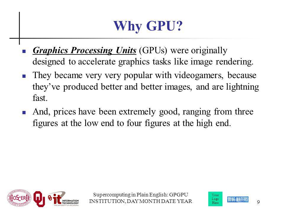Your Logo Here Supercomputing in Plain English: GPGPU INSTITUTION, DAY MONTH DATE YEAR Source: NVIDIA CUDA Programming Guide CPU vs GPU Layout