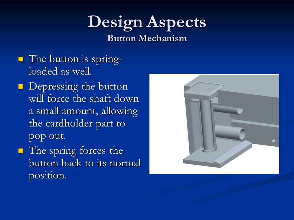 Design Aspects Button Mechanism The button is spring- loaded as well.