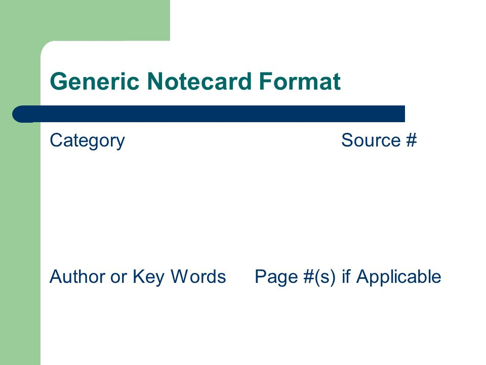 Generic Notecard Format CategorySource # Author or Key Words Page #(s) if Applicable