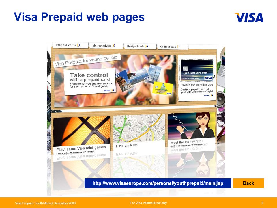 Presentation Identifier.8 Information Classification as Needed For Visa Internal Use Only Visa Prepaid Youth Market December 2009 8 Visa Prepaid web p