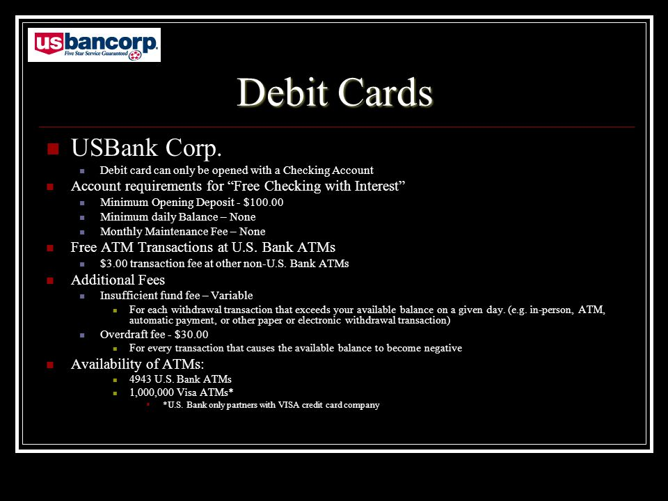 Debit Cards USBank Corp.