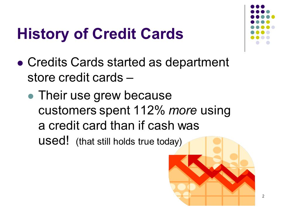 2 History of Credit Cards Credits Cards started as department store credit cards – Their use grew because customers spent 112% more using a credit card than if cash was used.