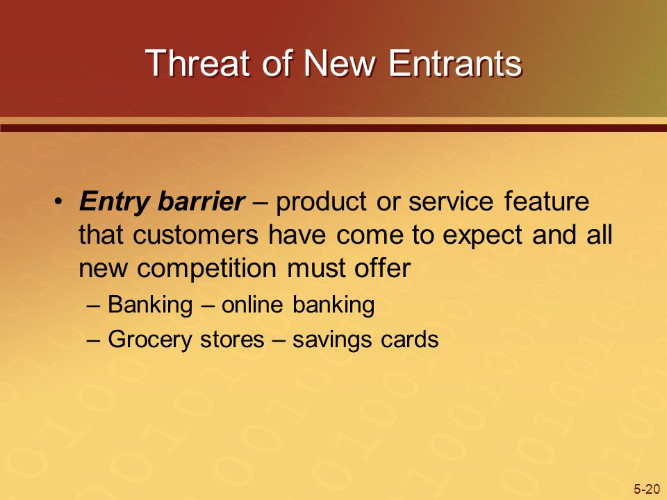 5-20 Threat of New Entrants Entry barrier – product or service feature that customers have come to expect and all new competition must offer –Banking – online banking –Grocery stores – savings cards