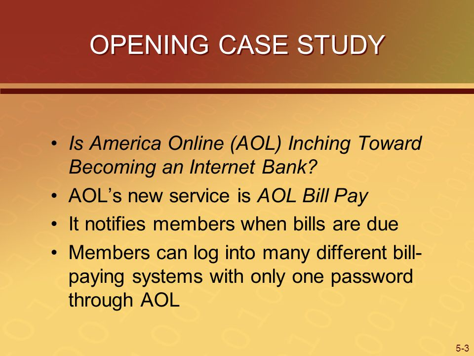 5-3 OPENING CASE STUDY Is America Online (AOL) Inching Toward Becoming an Internet Bank.