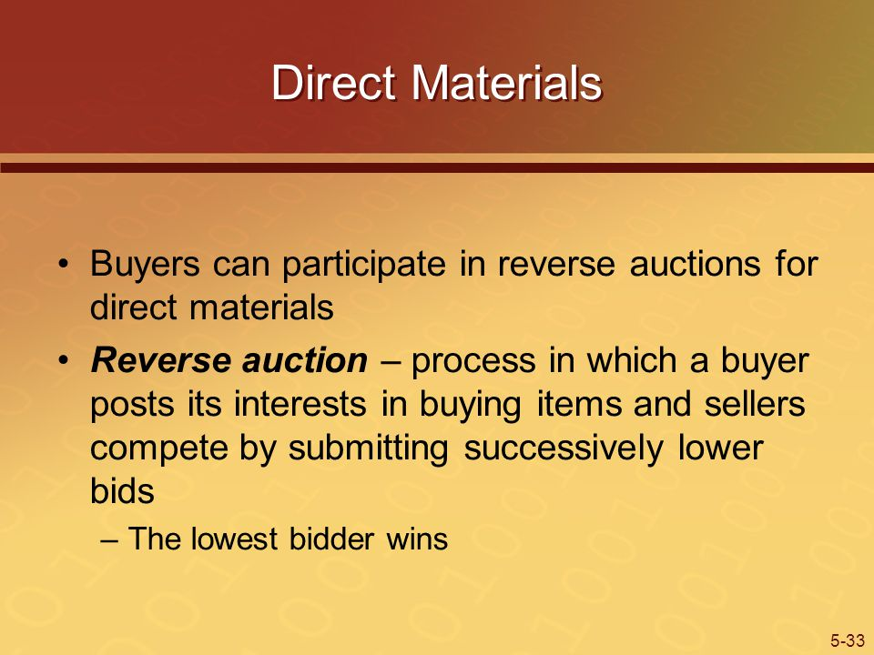 5-33 Direct Materials Buyers can participate in reverse auctions for direct materials Reverse auction – process in which a buyer posts its interests in buying items and sellers compete by submitting successively lower bids –The lowest bidder wins