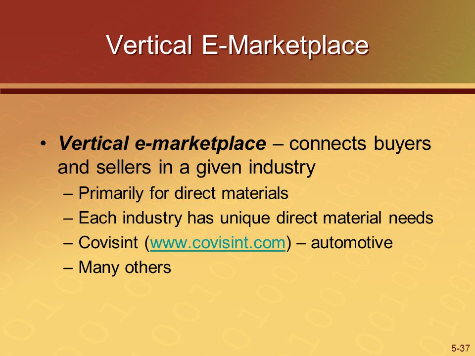 5-37 Vertical E-Marketplace Vertical e-marketplace – connects buyers and sellers in a given industry –Primarily for direct materials –Each industry has unique direct material needs –Covisint (www.covisint.com) – automotivewww.covisint.com –Many others