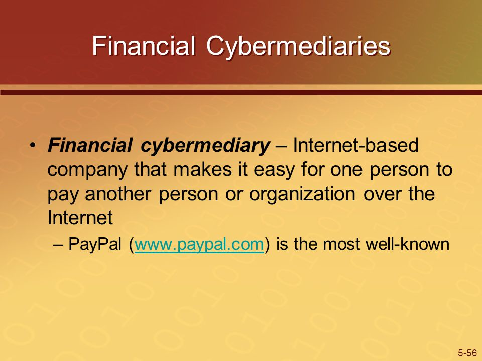5-56 Financial Cybermediaries Financial cybermediary – Internet-based company that makes it easy for one person to pay another person or organization over the Internet –PayPal (www.paypal.com) is the most well-knownwww.paypal.com