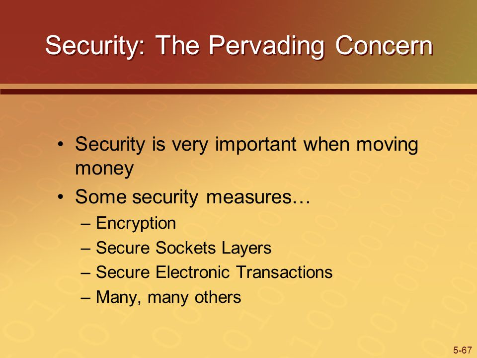 5-67 Security: The Pervading Concern Security is very important when moving money Some security measures… –Encryption –Secure Sockets Layers –Secure Electronic Transactions –Many, many others