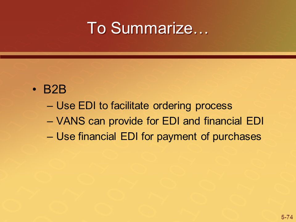 5-74 To Summarize… B2B –Use EDI to facilitate ordering process –VANS can provide for EDI and financial EDI –Use financial EDI for payment of purchases