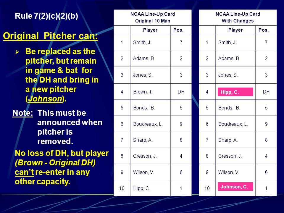 Rule 7(2)(c)(2)(b) 10 Player Line-up NCAA Line-Up Card Original 10 Man PlayerPos. 1Smith, J.7 2Adams, B2 3Jones, S.3 4Brown, T.DH 5Bonds, B.5 6Boudrea