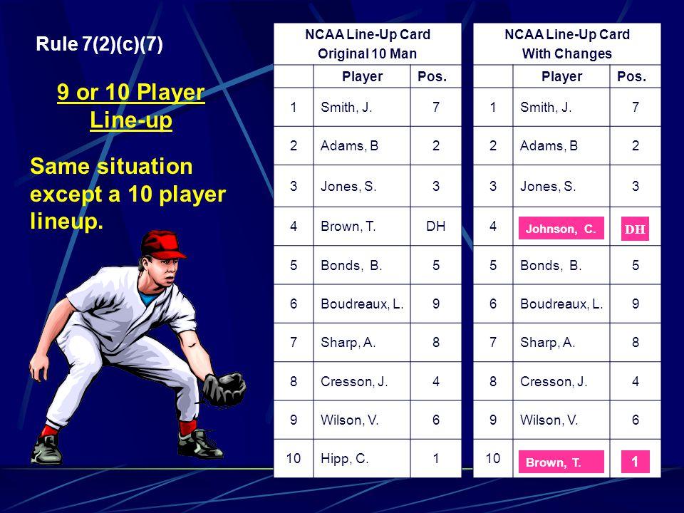 NCAA Line-Up Card Original 9 Man PlayerPos. 1Smith, J.7 2Adams, B2 3Jones, S.3 4Brown, T.P/DH 5Bonds, B.5 6Boudreaux, L.9 7Sharp, A.8 8Cresson, J.4 9W