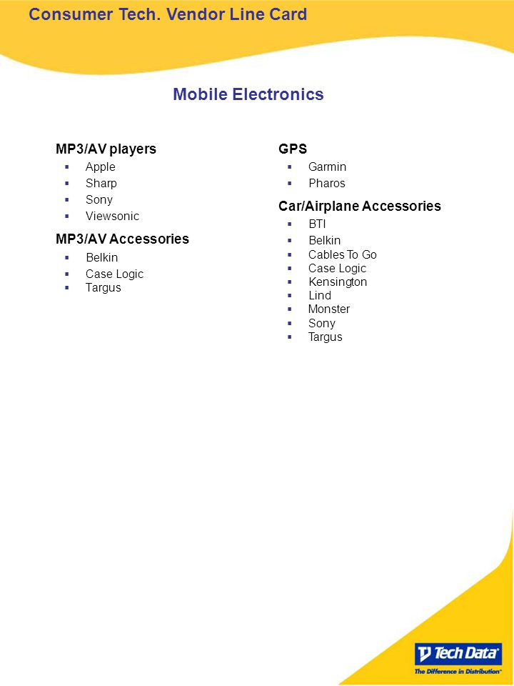 MP3/AV players Apple Sharp Sony Viewsonic MP3/AV Accessories Belkin Case Logic Targus GPS Garmin Pharos Car/Airplane Accessories BTI Belkin Cables To Go Case Logic Kensington Lind Monster Sony Targus Mobile Electronics Consumer Tech.