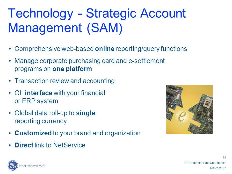 14 GE Proprietary and Confidential March 2007 Technology - Strategic Account Management (SAM) Comprehensive web-based online reporting/query functions