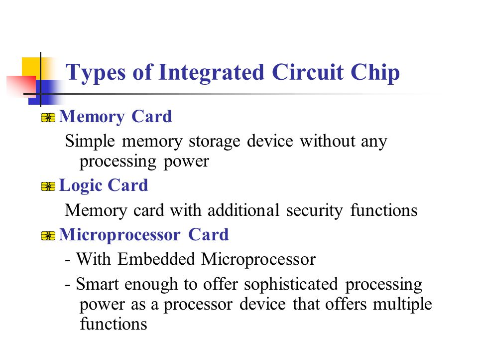 Types of Integrated Circuit Chip Memory Card Simple memory storage device without any processing power Logic Card Memory card with additional security