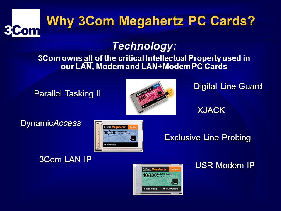 3Com LAN IP USR Modem IP Technology: XJACK Digital Line Guard DynamicAccess Parallel Tasking II Exclusive Line Probing Why 3Com Megahertz PC Cards? 3C