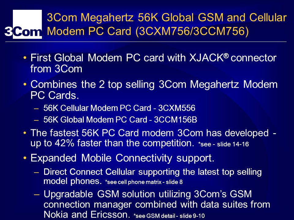 3Com Megahertz 56K Global GSM and Cellular Modem PC Card (3CXM756/3CCM756) First Global Modem PC card with XJACK ® connector from 3Com Combines the 2 top selling 3Com Megahertz Modem PC Cards.