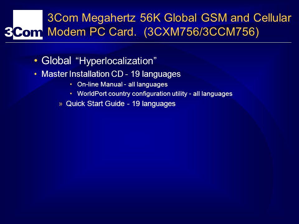 3Com Megahertz 56K Global GSM and Cellular Modem PC Card. (3CXM756/3CCM756) Global Hyperlocalization Master Installation CD - 19 languages On-line Man