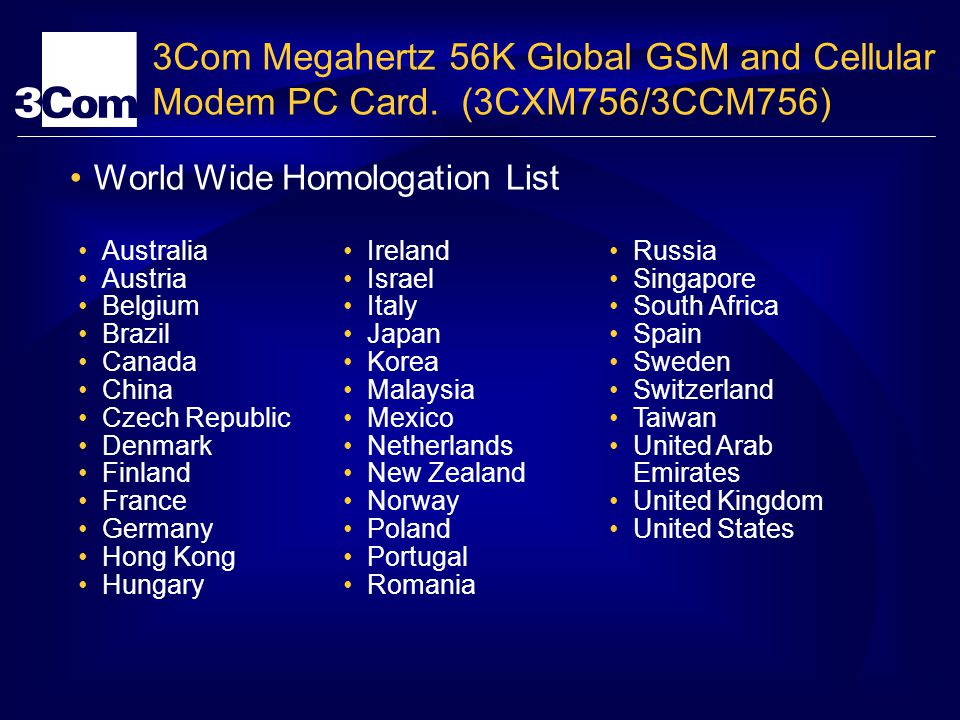 3Com Megahertz 56K Global GSM and Cellular Modem PC Card.