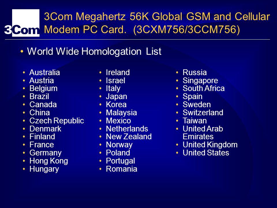 3Com Megahertz 56K Global GSM and Cellular Modem PC Card. (3CXM756/3CCM756) World Wide Homologation List Australia Austria Belgium Brazil Canada China
