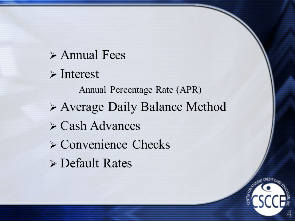 Low Interest Introductory Rates Balance Transfers Late Fees Over Credit Limit Fees Bounced Check Fees Currency Conversion Fees 5