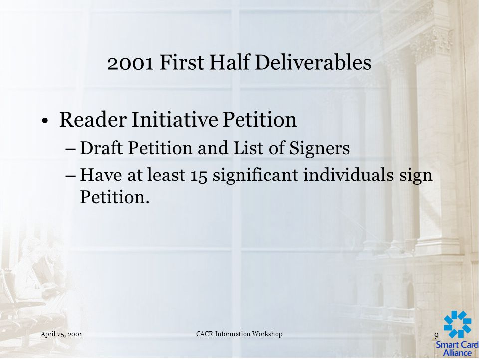 April 25, 2001CACR Information Workshop 8 2001 First Half Deliverables Publish Opportunities/Obstacles Report.
