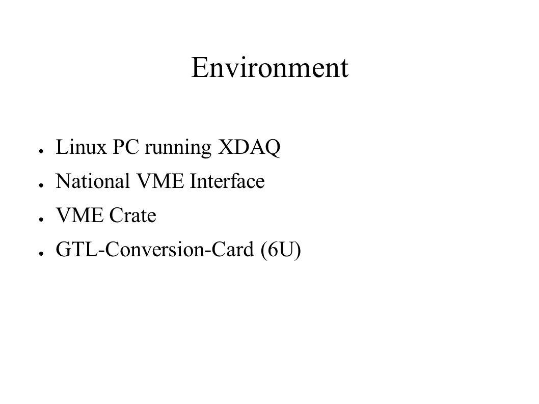 Environment Linux PC running XDAQ National VME Interface VME Crate GTL-Conversion-Card (6U)