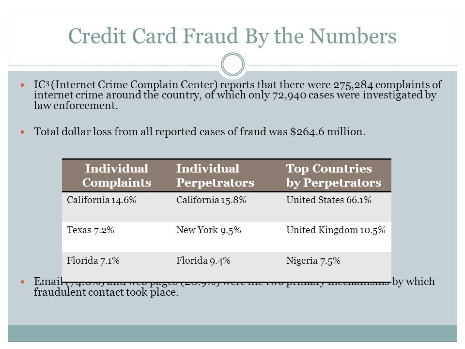 Credit Card Fraud By the Numbers IC 3 (Internet Crime Complain Center) reports that there were 275,284 complaints of internet crime around the country, of which only 72,940 cases were investigated by law enforcement.