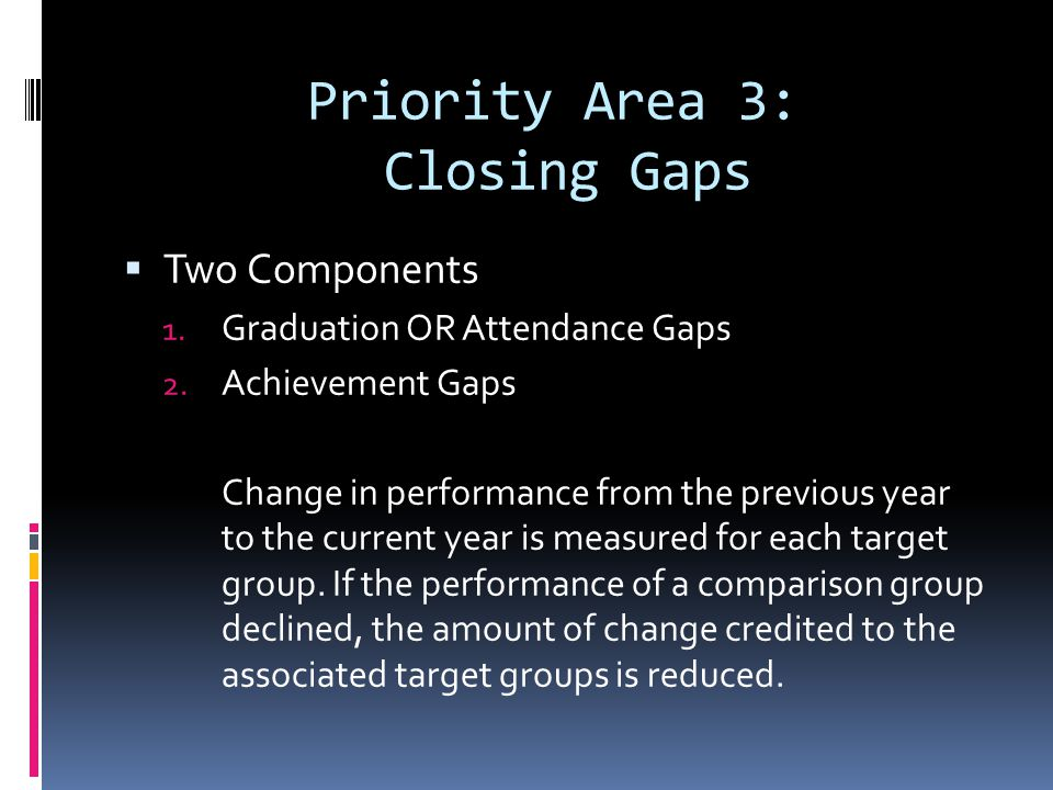 Priority Area 3: Closing Gaps Two Components 1. Graduation OR Attendance Gaps 2.