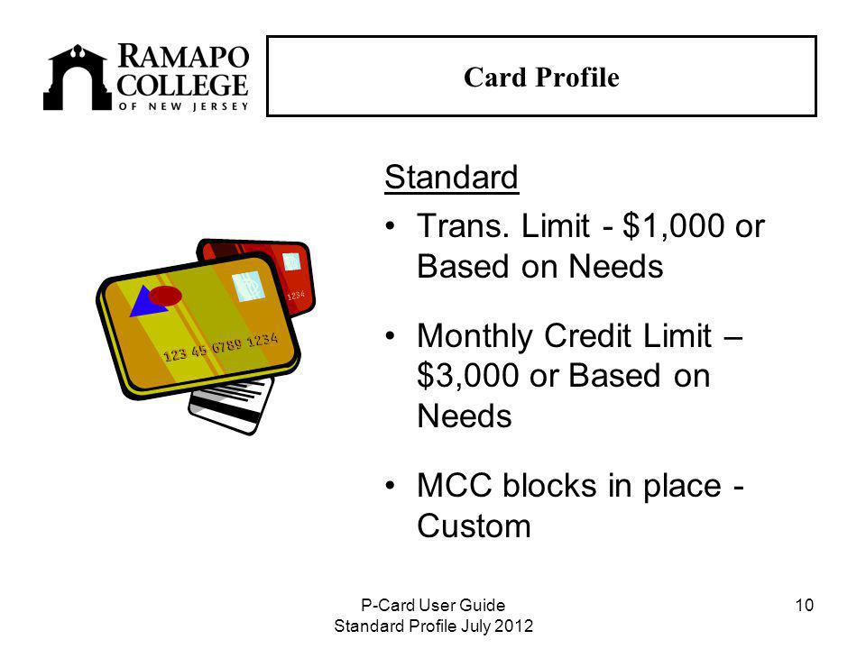 P-Card User Guide Standard Profile July Card Profile Standard Trans.