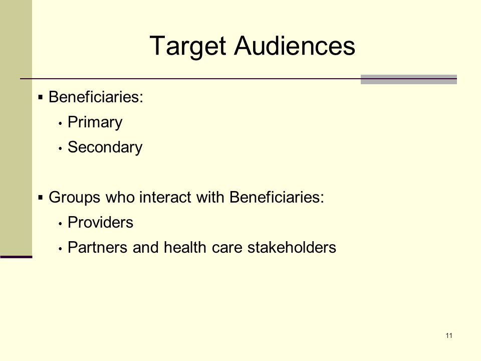 11 Target Audiences Beneficiaries: Primary Secondary Groups who interact with Beneficiaries: Providers Partners and health care stakeholders