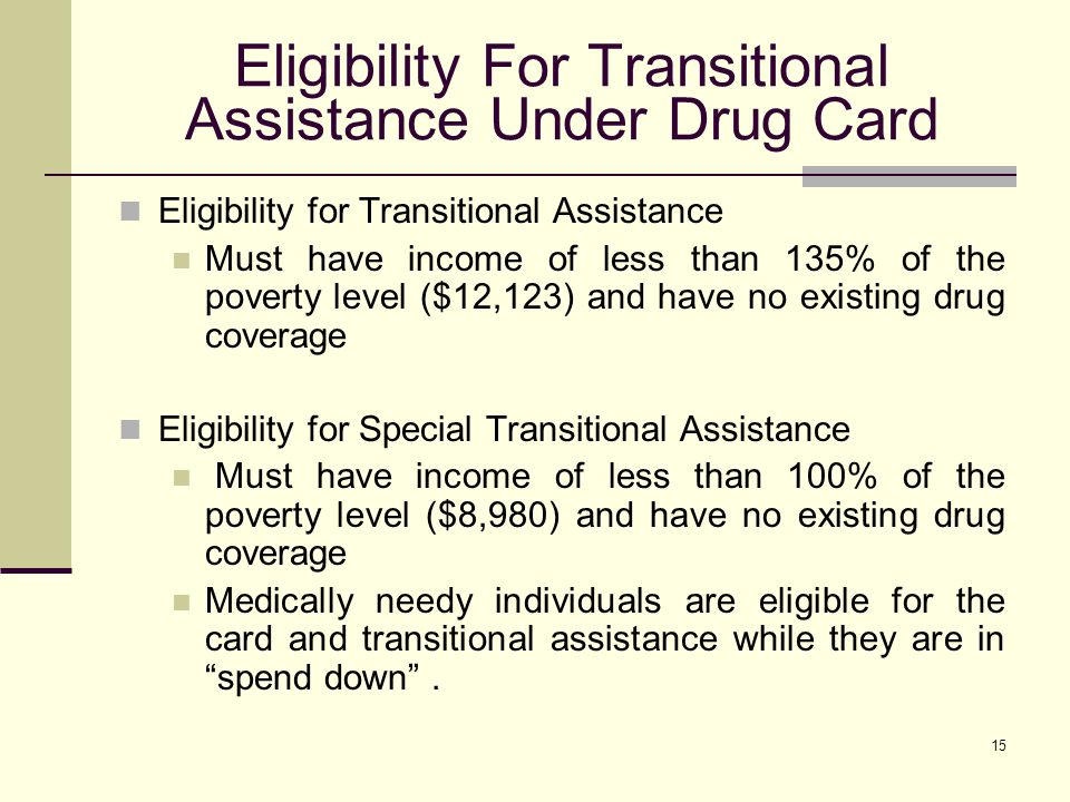 15 Eligibility For Transitional Assistance Under Drug Card Eligibility for Transitional Assistance Must have income of less than 135% of the poverty level ($12,123) and have no existing drug coverage Eligibility for Special Transitional Assistance Must have income of less than 100% of the poverty level ($8,980) and have no existing drug coverage Medically needy individuals are eligible for the card and transitional assistance while they are in spend down.