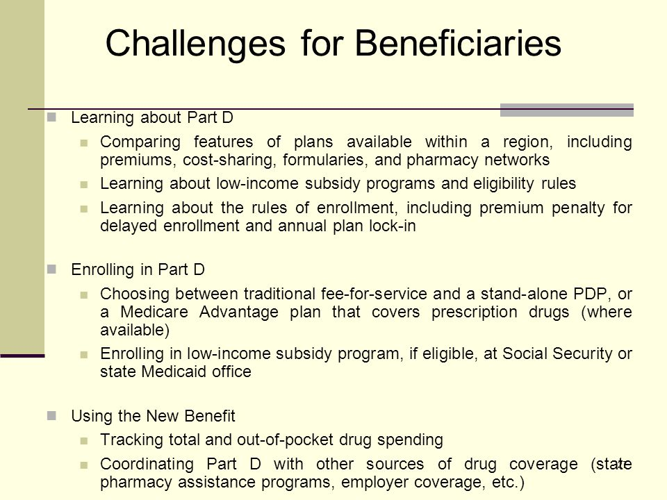 27 Challenges for Beneficiaries Learning about Part D Comparing features of plans available within a region, including premiums, cost-sharing, formularies, and pharmacy networks Learning about low-income subsidy programs and eligibility rules Learning about the rules of enrollment, including premium penalty for delayed enrollment and annual plan lock-in Enrolling in Part D Choosing between traditional fee-for-service and a stand-alone PDP, or a Medicare Advantage plan that covers prescription drugs (where available) Enrolling in low-income subsidy program, if eligible, at Social Security or state Medicaid office Using the New Benefit Tracking total and out-of-pocket drug spending Coordinating Part D with other sources of drug coverage (state pharmacy assistance programs, employer coverage, etc.)