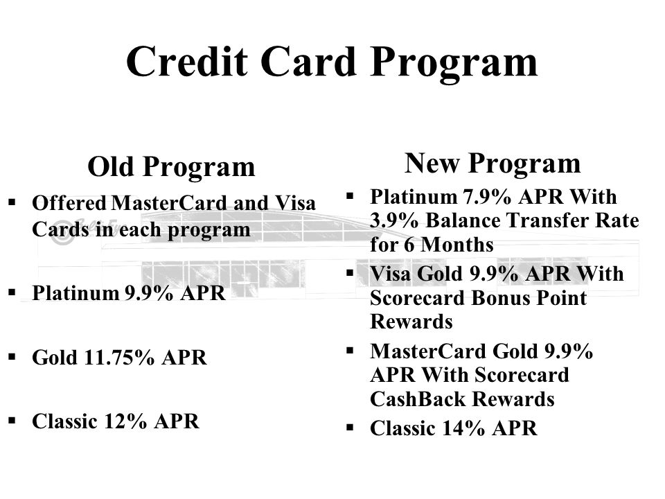 Credit Card Program Old Program Offered MasterCard and Visa Cards in each program Platinum 9.9% APR Gold 11.75% APR Classic 12% APR New Program Platin