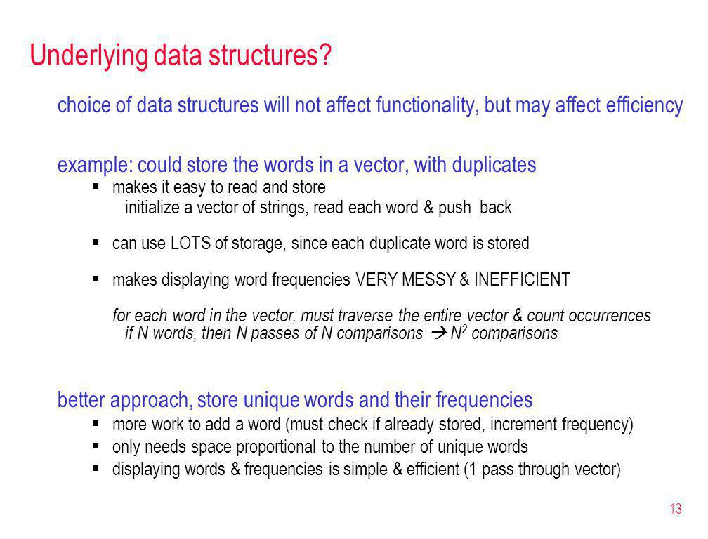 13 Underlying data structures.