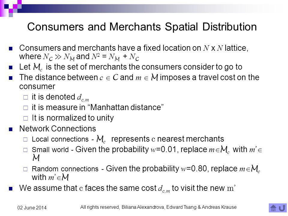 All rights reserved, Biliana Alexandrova, Edward Tsang & Andreas Krause 02 June 2014 Consumers and Merchants Spatial Distribution Consumers and mercha