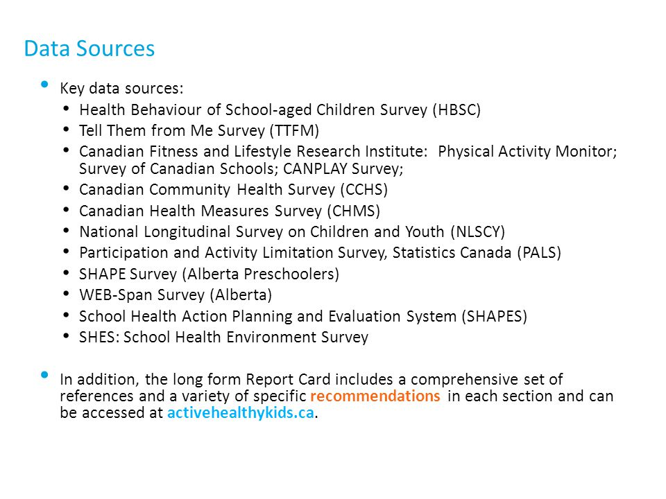 Data Sources Key data sources: Health Behaviour of School-aged Children Survey (HBSC) Tell Them from Me Survey (TTFM) Canadian Fitness and Lifestyle R