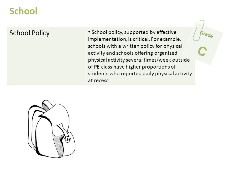 School Policy School policy, supported by effective implementation, is critical. For example, schools with a written policy for physical activity and