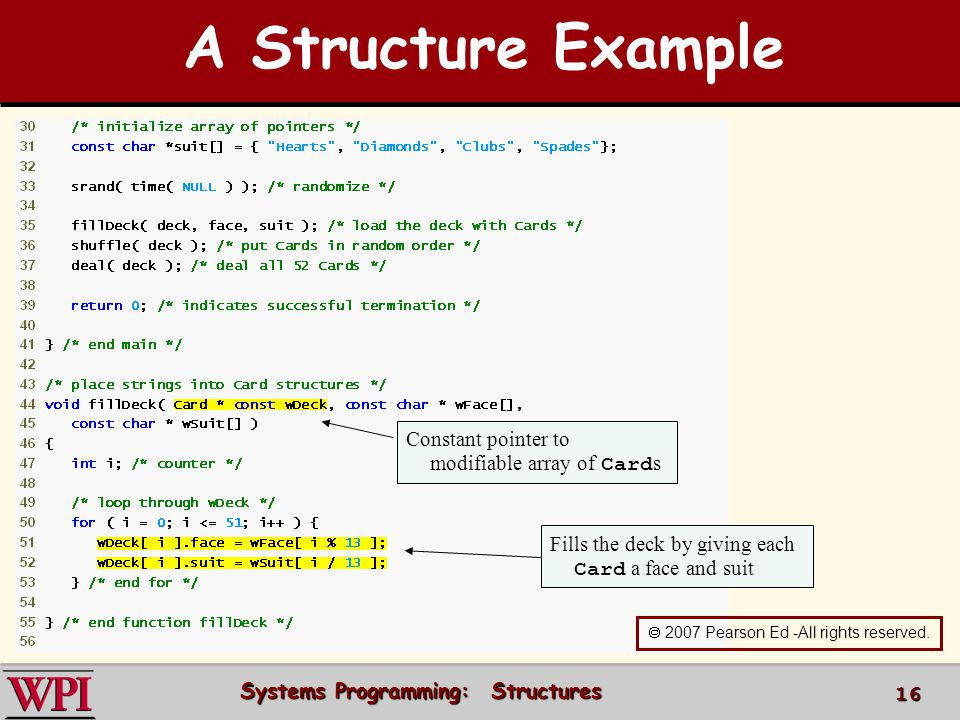 Systems Programming: Structures 16 Constant pointer to modifiable array of Card s Fills the deck by giving each Card a face and suit 2007 Pearson Ed -
