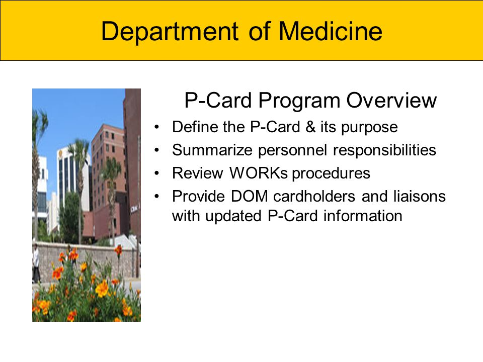 P-Card Program Overview Define the P-Card & its purpose Summarize personnel responsibilities Review WORKs procedures Provide DOM cardholders and liaisons with updated P-Card information Department of Medicine
