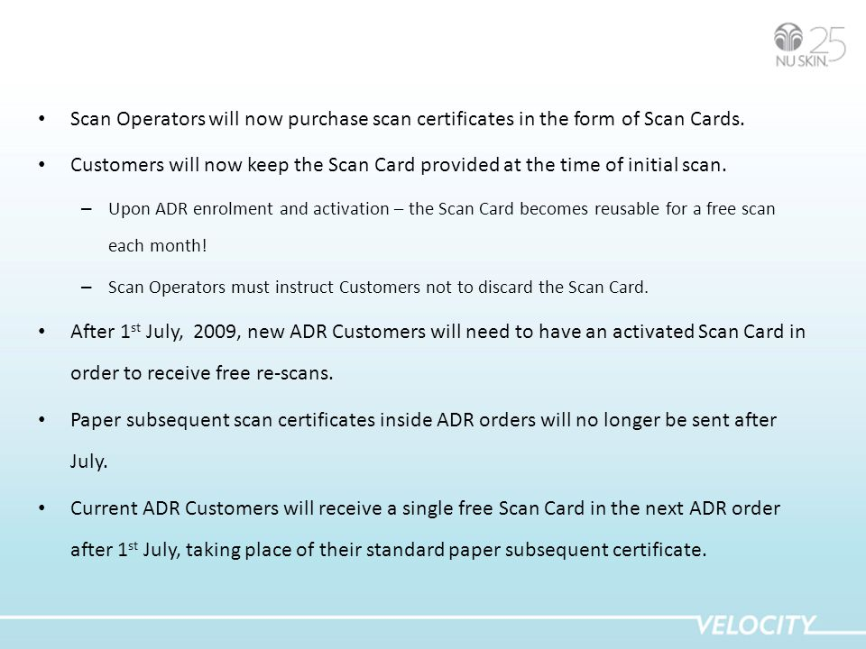 Scan Operators will now purchase scan certificates in the form of Scan Cards.