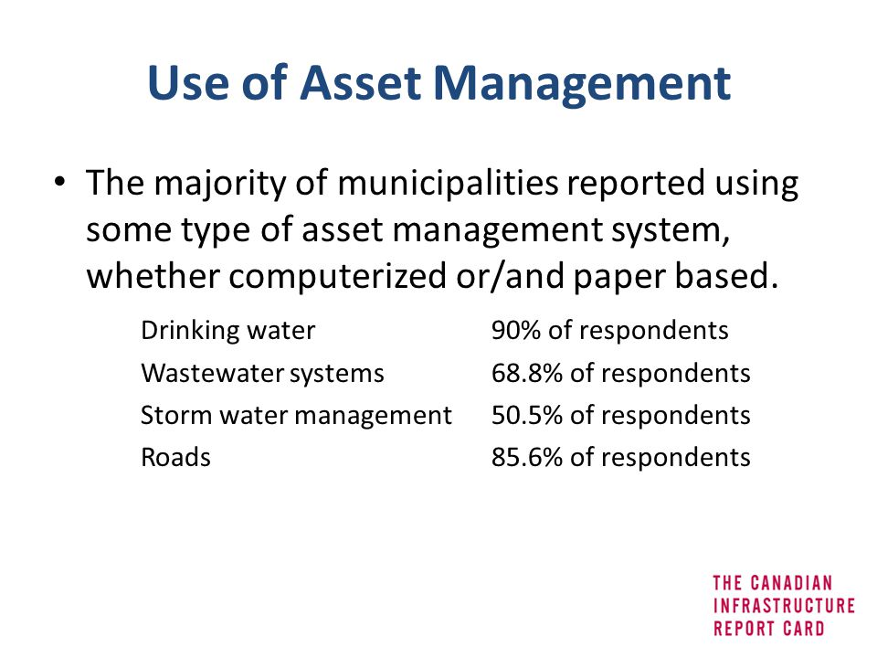 Use of Asset Management The majority of municipalities reported using some type of asset management system, whether computerized or/and paper based. D