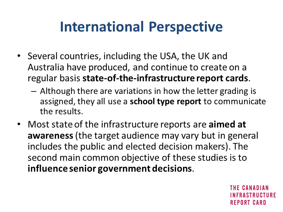 International Perspective Several countries, including the USA, the UK and Australia have produced, and continue to create on a regular basis state-of