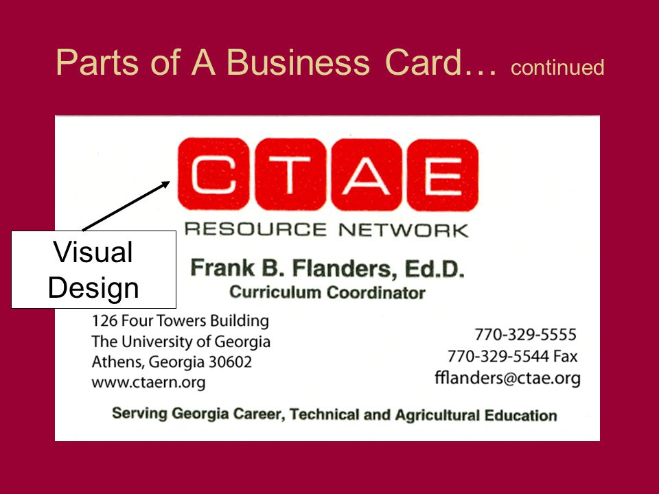 Parts of A Business Card… continued Visual Design