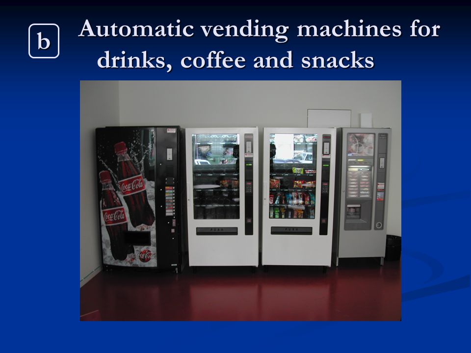 Automatic vending machines for drinks, coffee and snacks b
