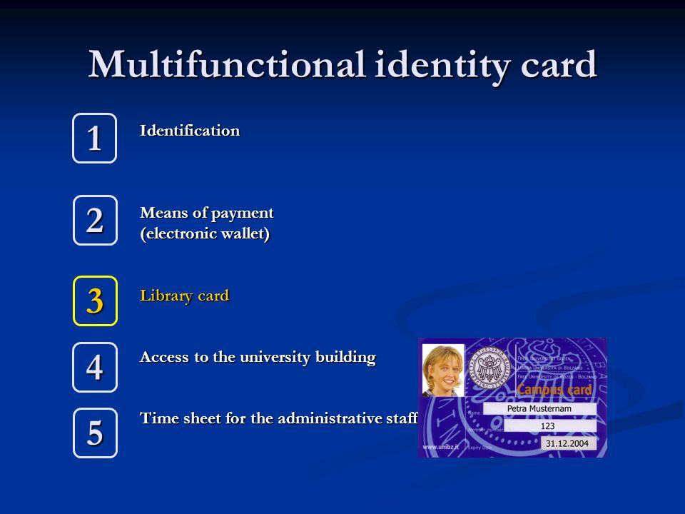 Multifunctional identity card Identification Means of payment (electronic wallet) Library card Access to the university building Time sheet for the ad