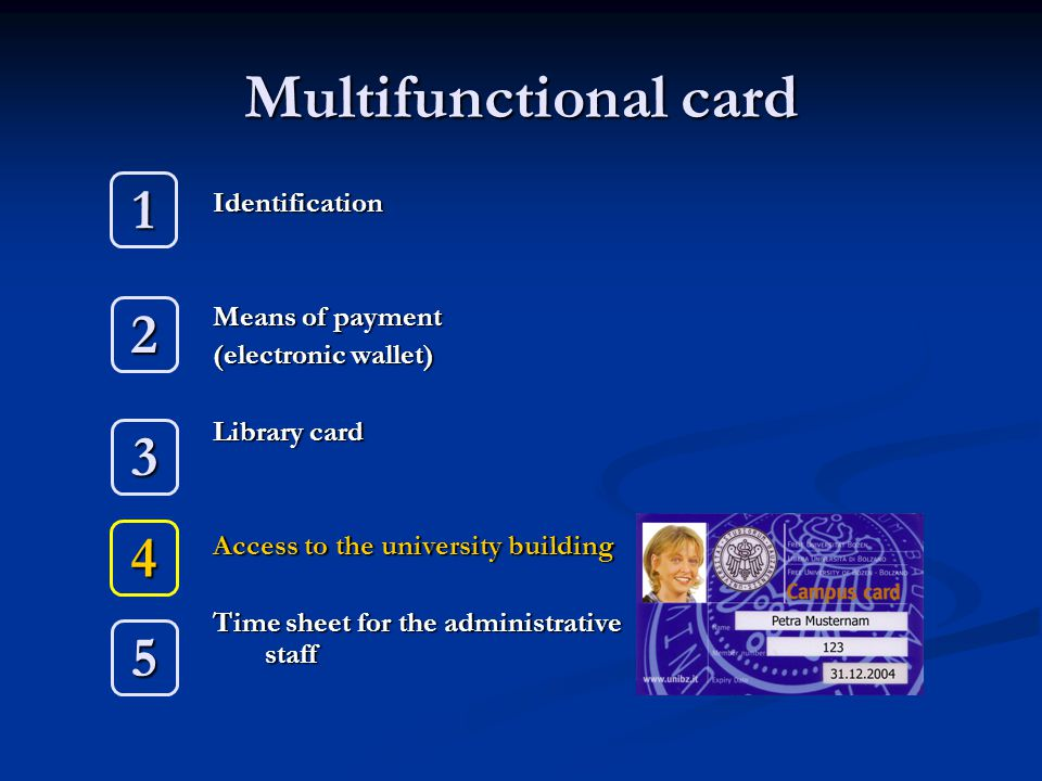 Multifunctional card Identification Means of payment (electronic wallet) Library card Access to the university building Time sheet for the administrative staff 1 2 3 4 5