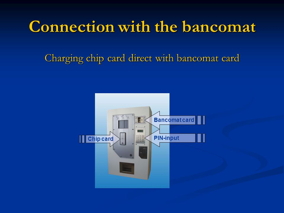 Connection with the bancomat Charging chip card direct with bancomat card Chip card Bancomat card PIN-input