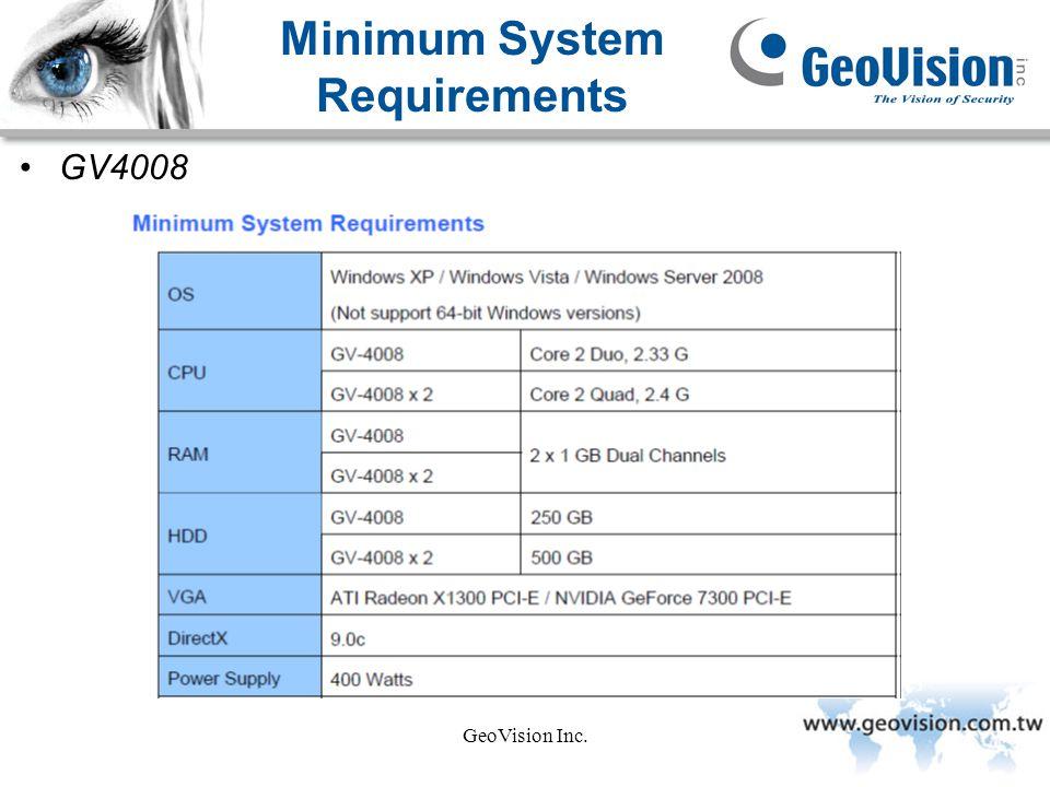 GeoVision Inc. Minimum System Requirements GV4008